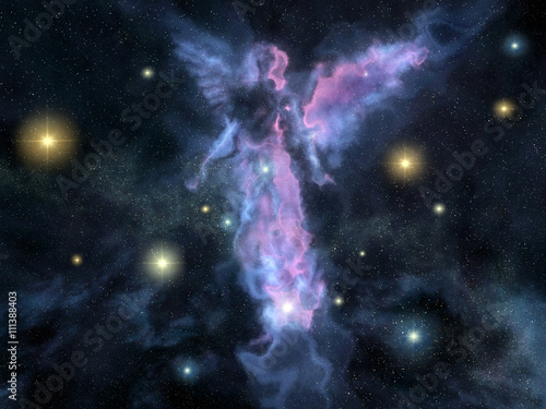Angel shaped nebula Wallpaper Mural