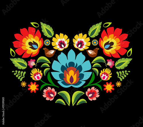 Heart made of polish folk floral pattern elements vector