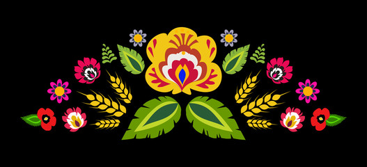 Polish folk decorative element vector