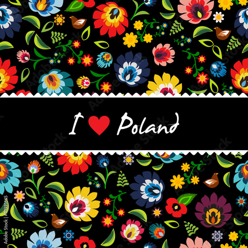 Traditional Polish folk floral pattern