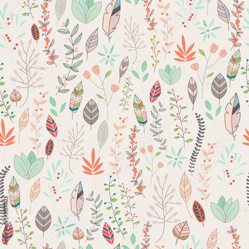 Fényképezés  Seamless pattern design with hand drawn flowers, floral elements
