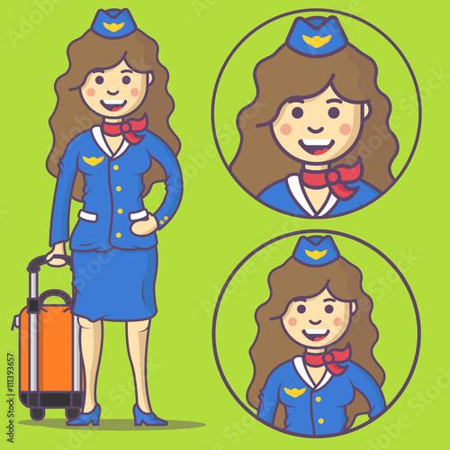Cartoon stewardess in uniform and with big bag  Vector