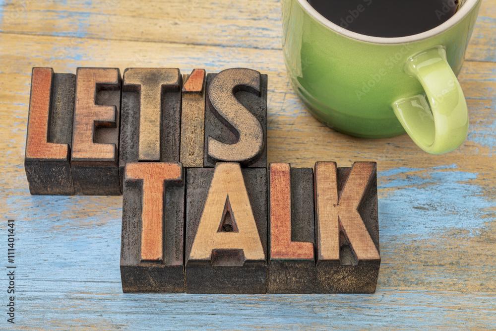Fototapeta Let us talk invitation with coffee