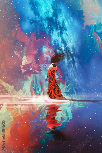 woman in dress standing on water against Universe filled with stars,illustration