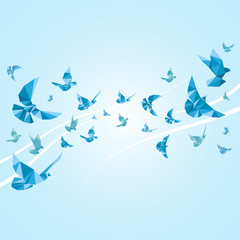 Panel SzklanyOrigami paper doves. Vector abstract background
