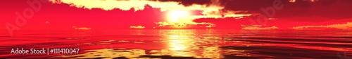 La pose en embrasure Rouge Marine sunset, panorama, banner, 3D rendering