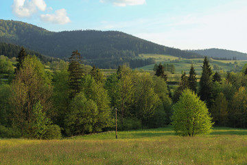 Fototapeta Wiejski rual landscape in Gorce Mountains, Poland