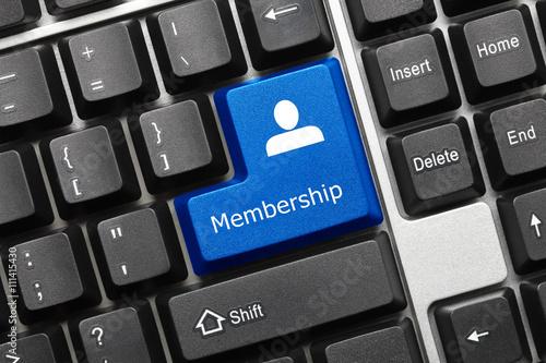 Fotografie, Obraz  Conceptual keyboard - Membership (blue key)