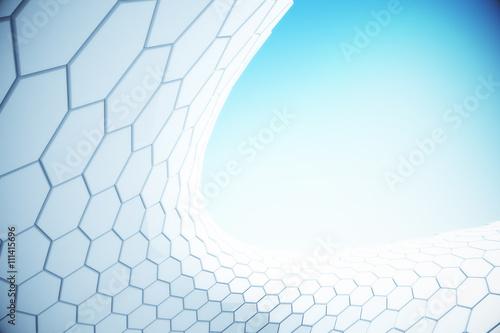 Fotografiet  White hexagon pattern