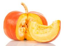 Orange Pumpkin And Slice Isolated On White.