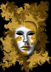 Fototapeta masque de carnaval de Venise doré