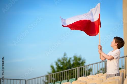 Photo  Little boy - Polish football team fan