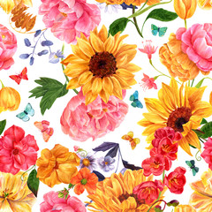 Fototapeta Słoneczniki Seamless background pattern with many different hand painted watercolour flowers