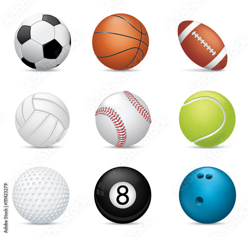 Valokuvatapetti Sport balls on white background