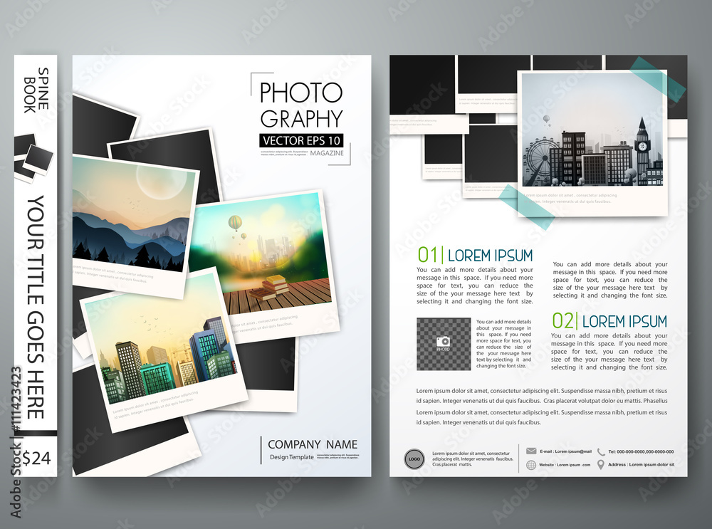 Fototapety, obrazy: Brochure magazine poster about photography.Flyers design template vector.Leaflet cover book business presentation with photograph background.Layout in A4 size.illustration.