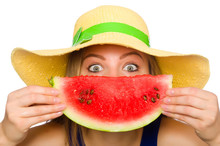 Woman Eating Watermelon Isolat...