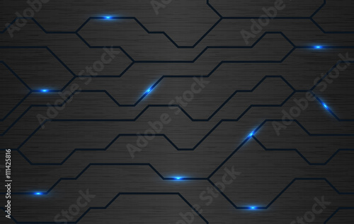 Poster Artificiel Seamless vector futuristic dark iron techno texture. Blue abstract electron energy line on brushed black metal background. Power vein light tech pattern.