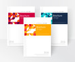 Vector set Red, Yellow, Blue Business brochure cover template. cover design annual report, flyer, brochure. Geometric Abstract background stripe and squares. stock-vector EPS 10
