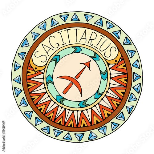 1a09f15d4a522 Mandala with sagittarius zodiac sign. Zentangle inspired mandala. Hand drawn