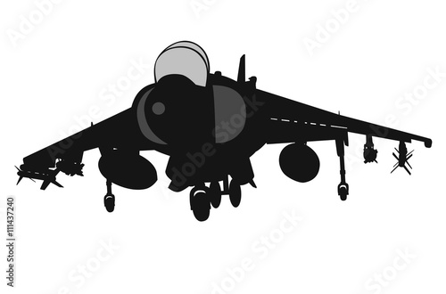 Military aircraft  taking off .Vector silhouette Canvas Print