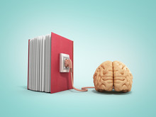 Book Charging Brain Concept 3d Illustration On Gradient Backgrow