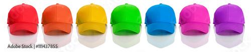 Valokuva  Baseball: Row of Rainbow Colored Baseball Caps