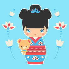 Vector Illustration Of Japanese Kokeshi Doll With Teddy-bear. Print For T-shirt, Elements For Card Design. Baby Art