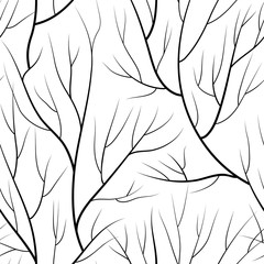 Floral seamless pattern. Branch without leaves tiled nature background.