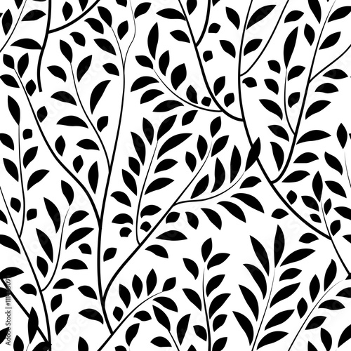 Fototapety, obrazy: Floral seamless pattern. Branch with leaves garden tree background