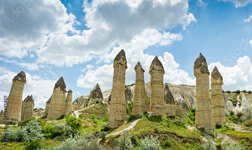 Love valley at Cappadocia, Anatolia, Turkey. Volcanic mountains Tablou Canvas