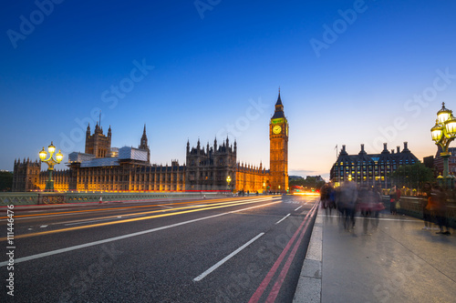 Foto op Canvas Londen rode bus Big Ben and Palace of Westminster in London at night, UK