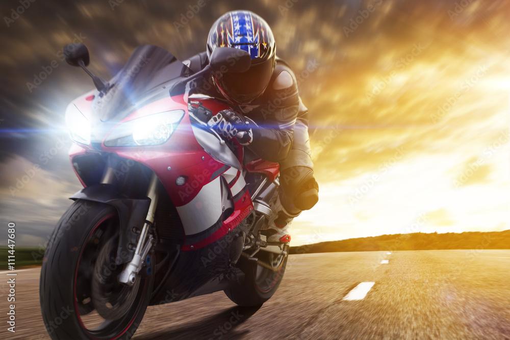Fototapeta Sport Biker Racing on Road