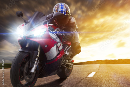 Sport Biker Racing on Road Poster