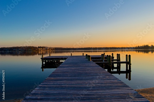 Fototapety, obrazy: Sunrise at the Dock on the River
