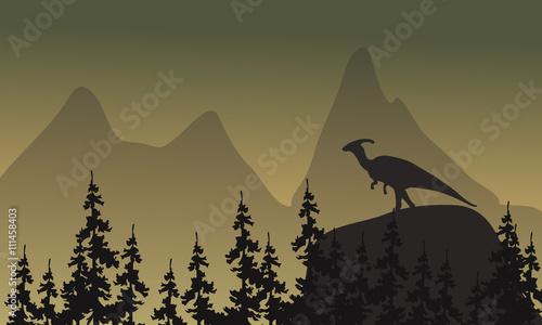 Fotografie, Obraz On cliff parasaurolophus silhouette