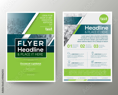 Green and Blue Geometric Poster Brochure Flyer design Layout vector template Wall mural