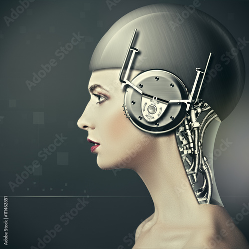 Photographie Cyborg Beauty woman portrait, le concept de science-fiction