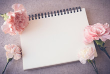 Notepad With Pink Flowers Mock Up, Women's Day BAckground