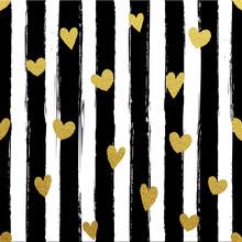 Gllitter Gold Striped Wallpaper. Paint Brush Strokes Background.