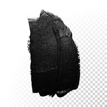Ink Black Watercolor Brush Dab Stroke. Vector Oil Paint Gouache.