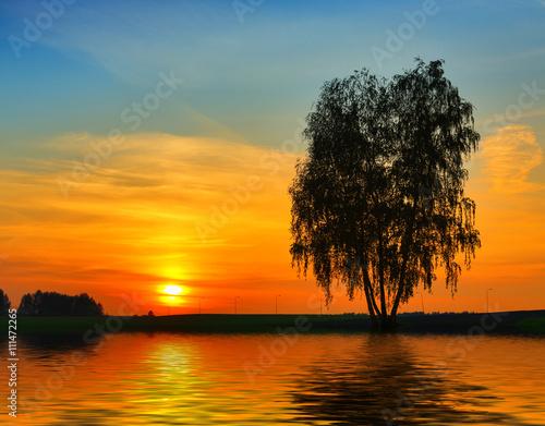 Foto op Plexiglas Crimson Sunset over water