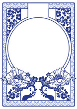 Vector Blue Chinese Decorative Frame With Space For Text. Art No