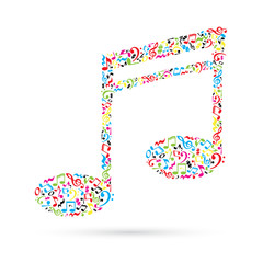 FototapetaMusic note made of music notes on white background. Colorful notes pattern.  Note shape. Poster and decoration idea.