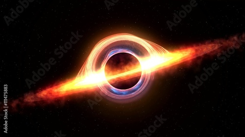 Fotografía  Black hole attracting space matter. 4k video 3d rendering