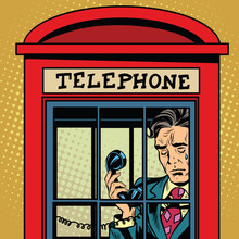 Retro Man Crying In A Phone Booth