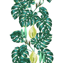 Fototapeta Do biura Seamless pattern with monstera leaves. Decorative image of tropical foliage and flower. Background made without clipping mask. Easy to use for backdrop, textile, wrapping paper