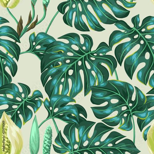 Materiał do szycia Wzór z monstera liści. Dekoracyjny obraz tropikalny liści i kwiatów. Podłoże wykonane bez maski przycinającej. Łatwy w obsłudze dla tło, tekstyliów, papieru do pakowania