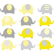 Yellow And Grey Cute Elephant Set.