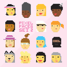 Pixel Art Style 15 Cartoon Faces Vector Set 2