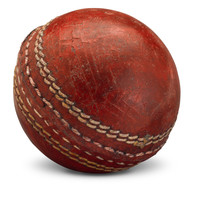 Old Worn Cricket Ball Isolated On White Background With Shadow